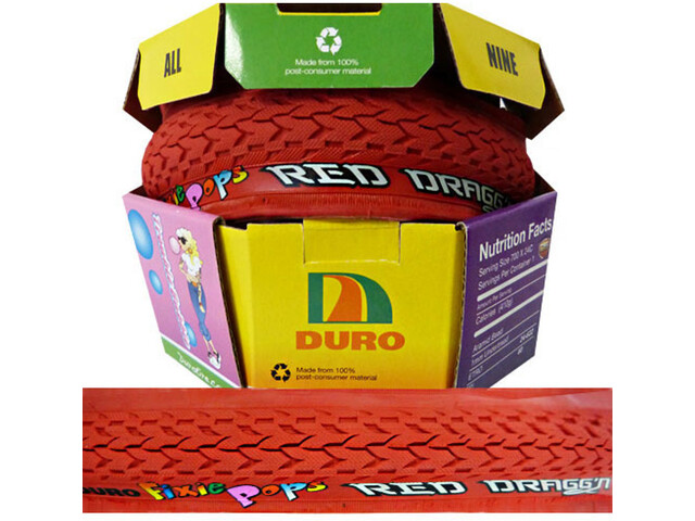 Duro Fixie Pops Folding Tyre 700x24C red/red dragon